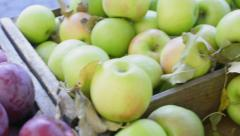 Fresh Granny Smith apples at market Stock Footage