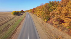 Stock Video Footage of Aero Flight over the road between fields. Autumn colors.