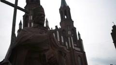 Stock Video Footage of Statue of Cardinal Stefan Wyszynski in Myszyniec