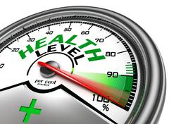 health level conceptual meter - stock illustration