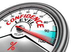confidence level conceptual meter - stock illustration