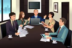 Business team meeting in a modern office - stock illustration