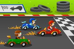Kids in a car racing Stock Illustration