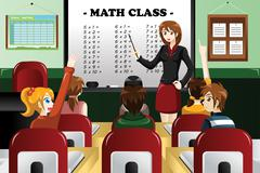 Stock Illustration of Kids studying math in the classroom