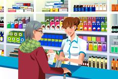 Pharmacist helping an elderly person - stock illustration