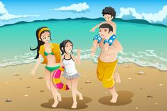 Family going to the beach Stock Illustration