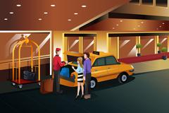 Hotel bellboy helping customers Stock Illustration