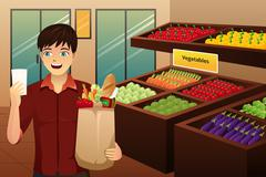 Man shopping at the grocery - stock illustration