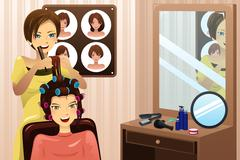 Hairstylist working in a salon - stock illustration