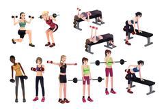 Women exercises with weights Stock Illustration