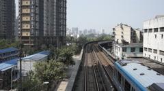 Light rail traffic in city Stock Footage