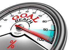 Goal reach conceptual meter Stock Illustration