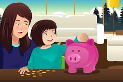 Mother daughter saving money to a piggybank - stock illustration