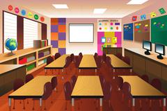 Empty classroom for elementary school Piirros