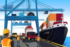 Shipping port scene Stock Illustration