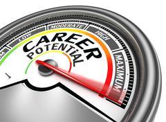 career potential conceptual meter - stock illustration