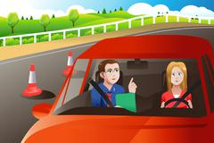 Stock Illustration of Teenager in a road driving test
