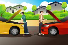 Two people trying to jump start a car Stock Illustration