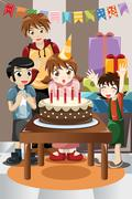 Kids celebrating birthday party - stock illustration