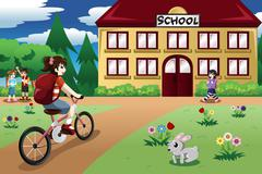 Elementary student girl riding a bike to school Piirros