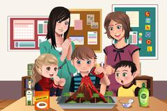 Elementary students doing a volcano experiment - stock illustration