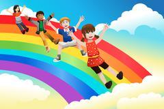 Children sliding down the rainbow Stock Illustration