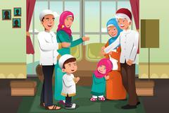 Family celebrating Eid-al-fitr Stock Illustration