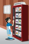 Kid buying candy from a vending machine - stock illustration
