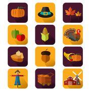 Thanksgiving icons - stock illustration