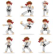 Different poses of karate kid Piirros