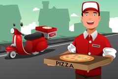 Man delivering pizza Stock Illustration