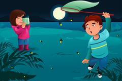 Kids catching fireflies - stock illustration