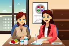 Nutritionist explaining about diet - stock illustration