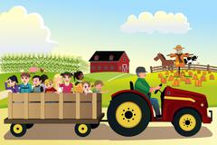 Stock Illustration of Kids going on a hayride in a farm with corn fields in the background