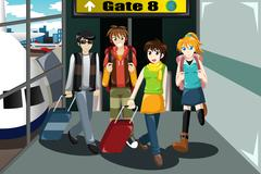 Group of young people  traveling together - stock illustration