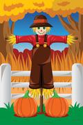 Scarecrow in the Fall season Stock Illustration