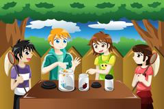 Kids catching bugs Stock Illustration