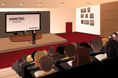 College students listening to the professor in the auditorium - stock illustration