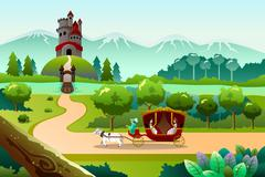 Prince and princess riding a wagon - stock illustration