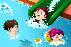 Kids having fun in the swimming pool - stock illustration