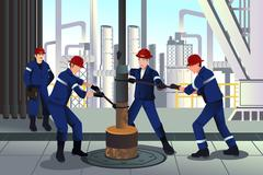 Oil and gas workers - stock illustration