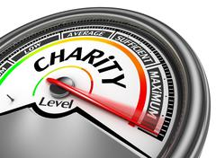 Charity level conceptual meter indicate maximum - stock illustration