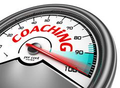 Coaching level conceptual meter indicate hundred per cent - stock illustration