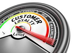Customer loyalty level conceptual meter to maximum - stock illustration