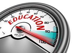Education conceptual meter indicate hundred per cent Stock Illustration