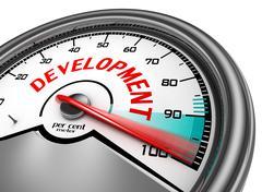 Development level conceptual meter indicate hundred per cent Stock Illustration