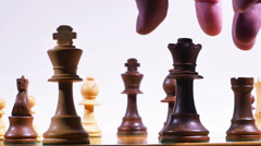 Chess Queen Takes King Checkmate Isolated on White in Slow Motion Stock Footage