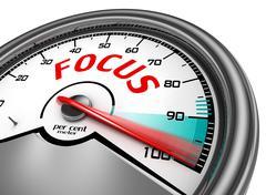 Focus level hundred per cent conceptual meter - stock illustration
