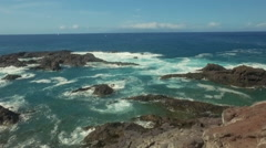 Sea surf aerial of the rocky Atlantic Ocean coast Stock Footage