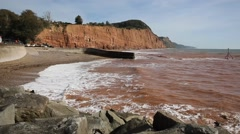 Sidmouth beach and coast Devon England UK to east Stock Footage